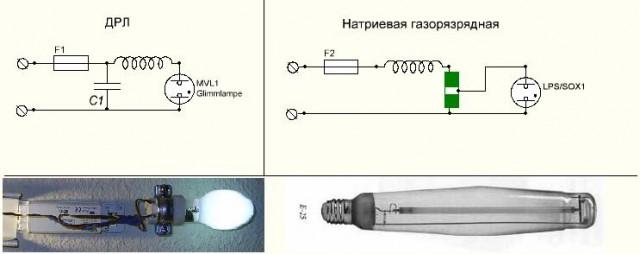 Подключение ДРЛ и натриевой ламп