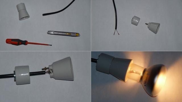 подсоединение лампы