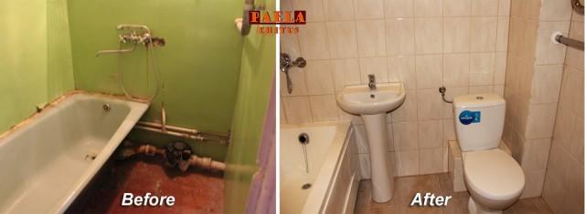 Ванна до и после. PAELA Ehitus
